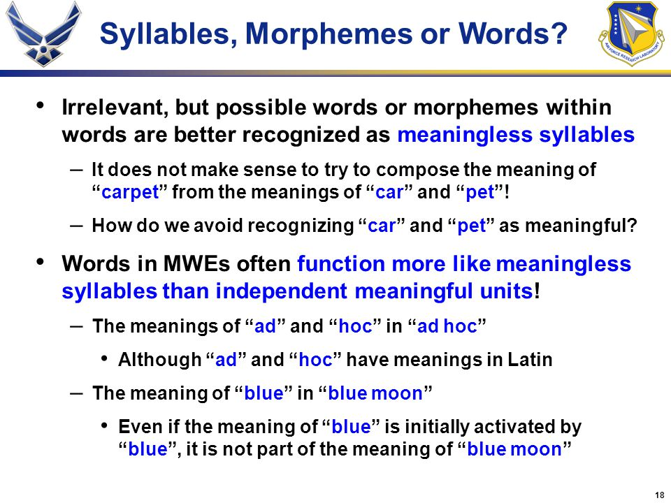 18 Syllables, Morphemes or Words.