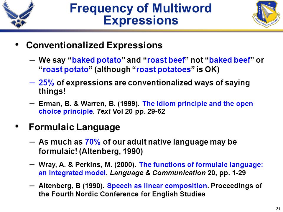 21 Frequency of Multiword Expressions Conventionalized Expressions – We say baked potato and roast beef not baked beef or roast potato (although roast potatoes is OK) – 25% of expressions are conventionalized ways of saying things.
