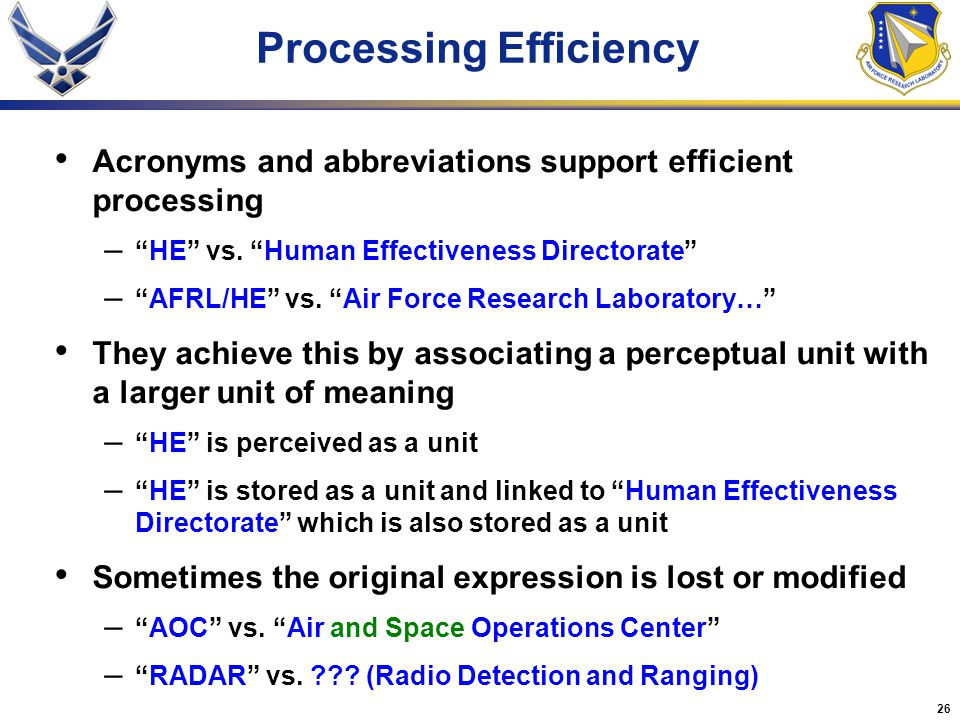 26 Processing Efficiency Acronyms and abbreviations support efficient processing – HE vs.