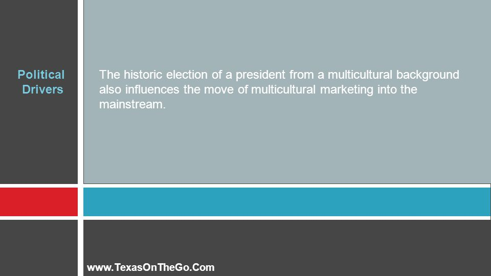 The historic election of a president from a multicultural background also influences the move of multicultural marketing into the mainstream.