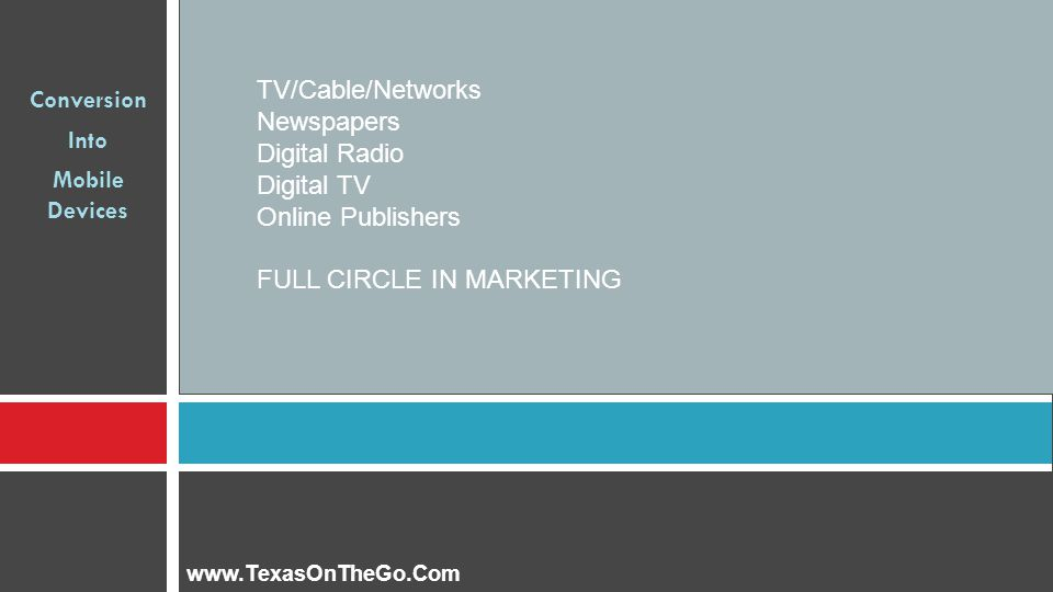 Conversion Into Mobile Devices TV/Cable/Networks Newspapers Digital Radio Digital TV Online Publishers FULL CIRCLE IN MARKETING www.TexasOnTheGo.Com