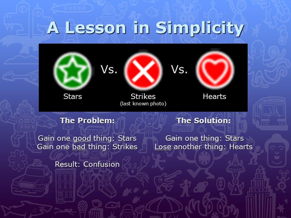 A Lesson in Simplicity Vs.Vs. Strikes (last known photo) HeartsStars The Problem: Gain one good thing: Stars Gain one bad thing: Strikes Result: Confu