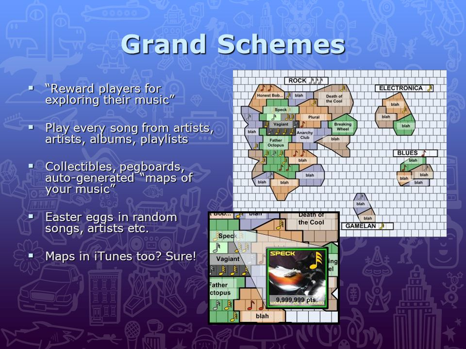 Grand Schemes  Reward players for exploring their music  Play every song from artists, artists, albums, playlists  Collectibles, pegboards, auto-generated maps of your music  Easter eggs in random songs, artists etc.