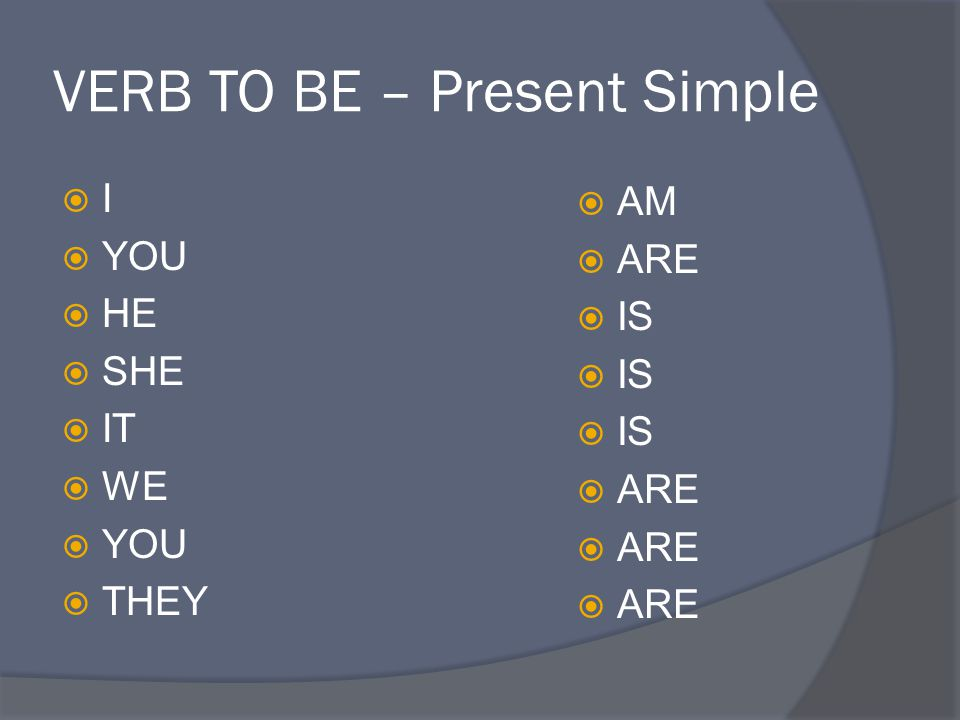 VERB TO BE – Present Simple II  YOU  HE  SHE  IT  WE  YOU  THEY  AM  ARE  IS  ARE