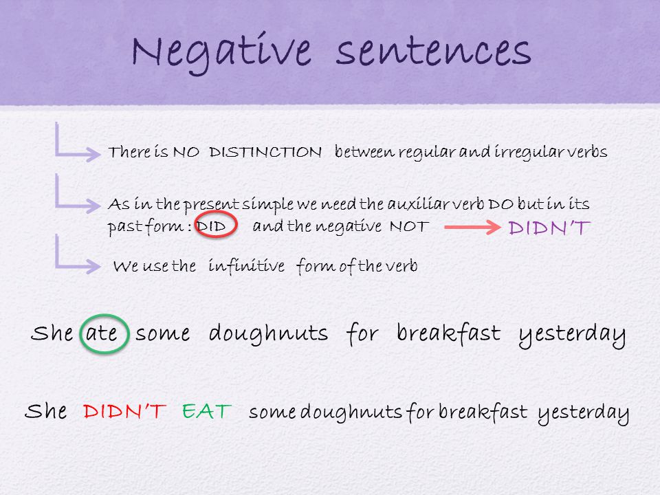 Negative sentences There is NO DISTINCTION between regular and irregular verbs As in the present simple we need the auxiliar verb DO but in its past form : DID and the negative NOT We use the infinitive form of the verb She ate some doughnuts for breakfast yesterday She some doughnuts for breakfast yesterday DIDN'TEAT DIDN'T