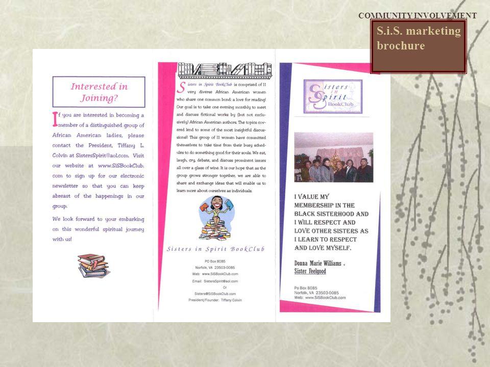 S.i.S. marketing brochure COMMUNITY INVOLVEMENT