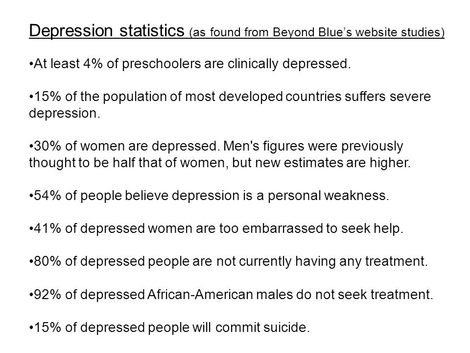 Depression statistics (as found from Beyond Blue's website studies) At least 4% of preschoolers are clinically depressed.