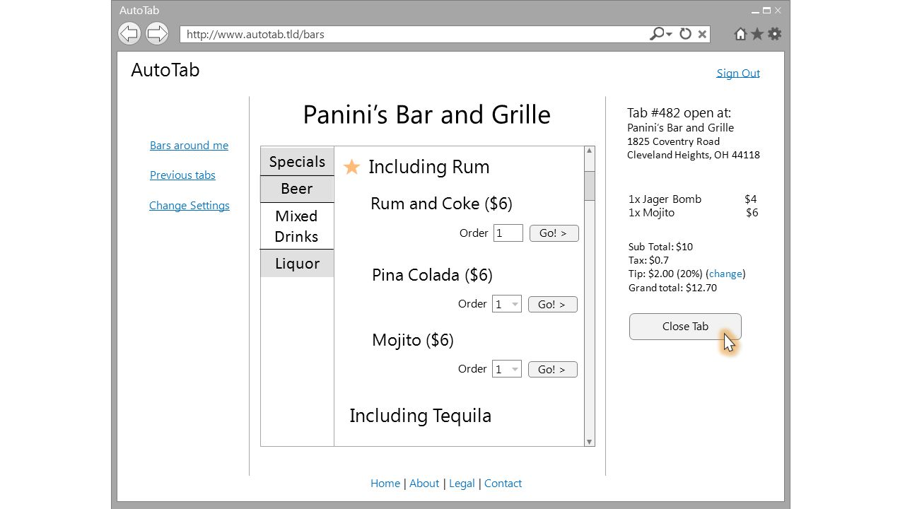 AutoTab http://www.autotab.tld/bars AutoTab Bars around me Previous tabs Change Settings Sign Out Home | About | Legal | Contact Panini's Bar and Gril