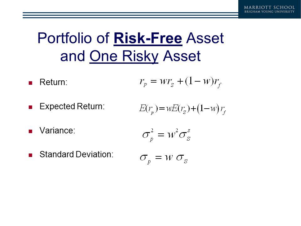 Portfolio of Risk-Free Asset and One Risky Asset Return: Expected Return: Variance: Standard Deviation: