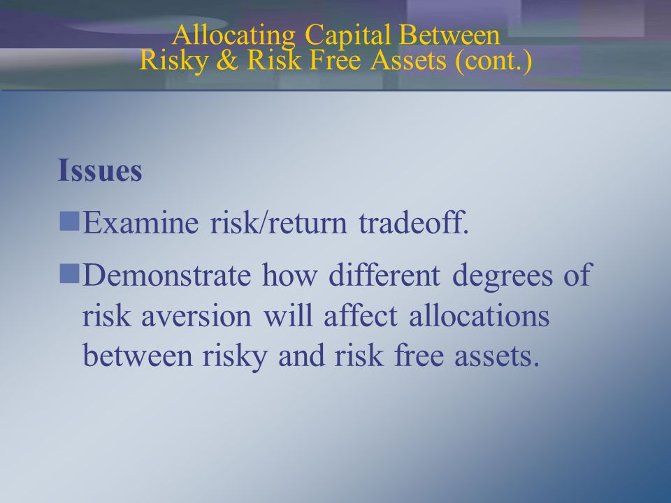 Issues Examine risk/return tradeoff.