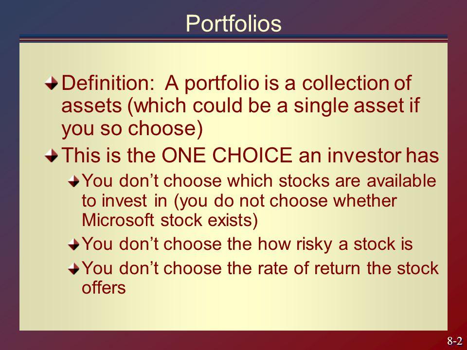 8-23 Use calculus to find min risk Take derivative w.r.t.