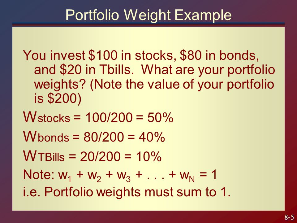 8-6 Expected Return on a Portfolio The expected return on a portfolio is weighted return of the individual securities.
