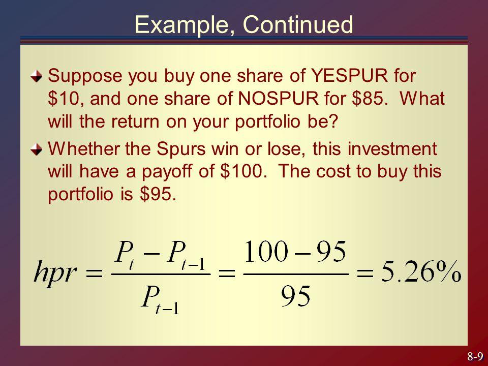 8-40 Portfolio Selection & Risk Aversion E(r) Efficient frontier of risky assets More risk-averse investor U''' U'' U' Q P S St.