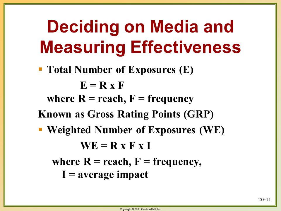 Copyright © 2003 Prentice-Hall, Inc. 20-11 Deciding on Media and Measuring Effectiveness  Total Number of Exposures (E) E = R x F where R = reach, F