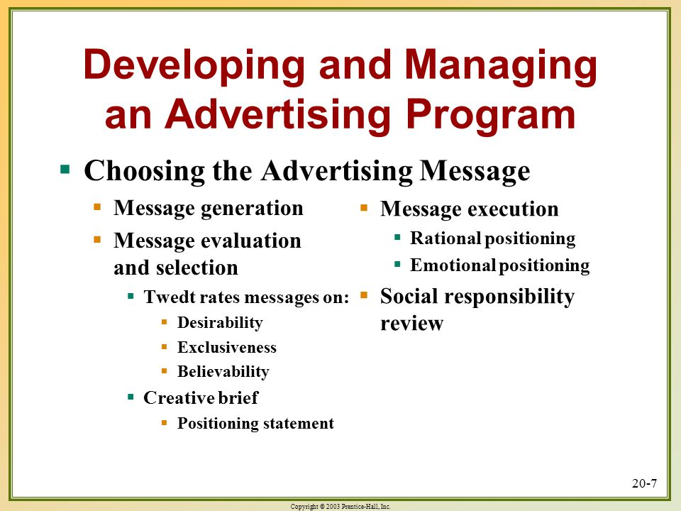 Copyright © 2003 Prentice-Hall, Inc. 20-7 Developing and Managing an Advertising Program  Choosing the Advertising Message  Message generation  Mes