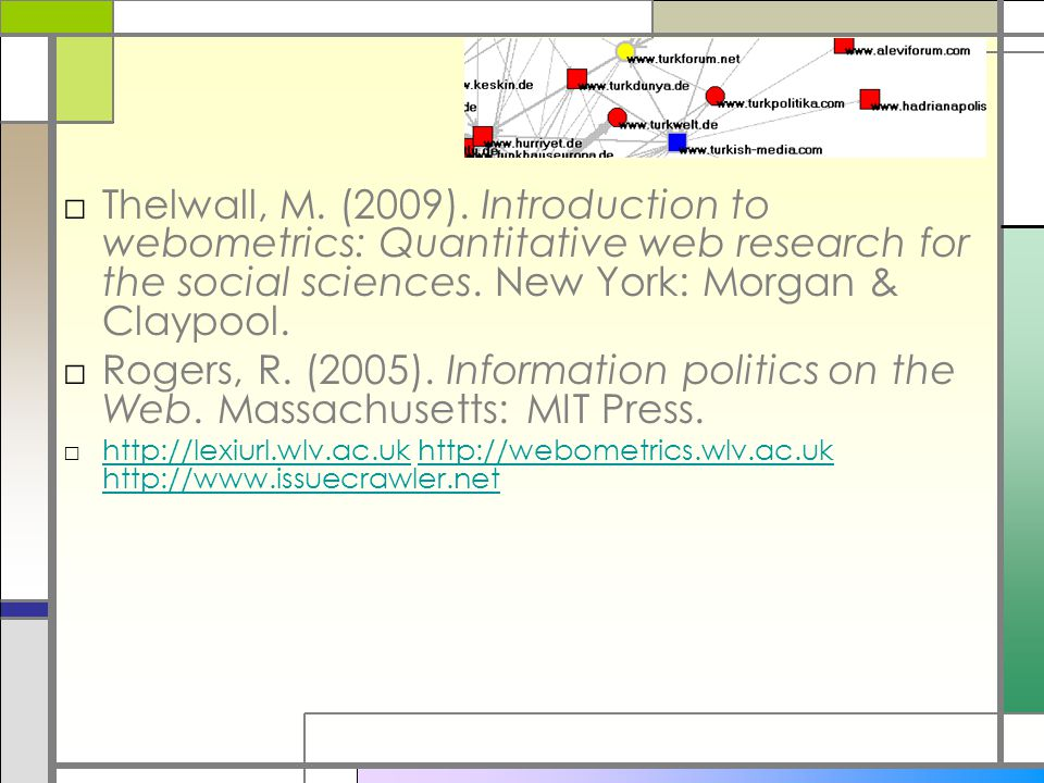 Books □Thelwall, M. (2009). Introduction to webometrics: Quantitative web research for the social sciences. New York: Morgan & Claypool. □Rogers, R. (
