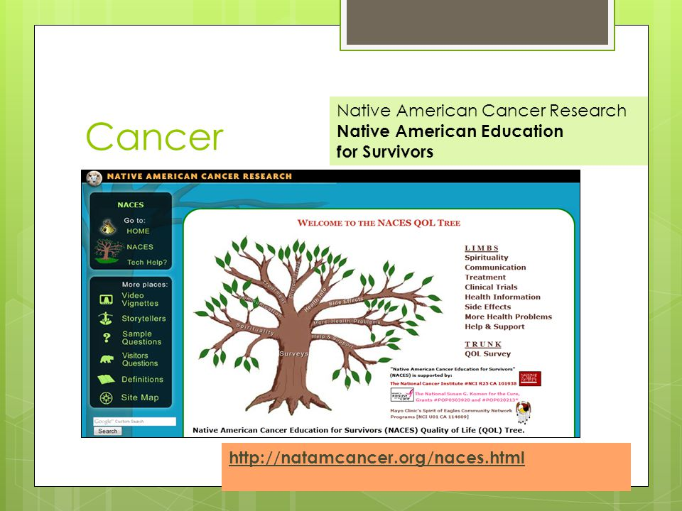 Cancer Native American Cancer Research Native American Education for Survivors http://natamcancer.org/naces.html