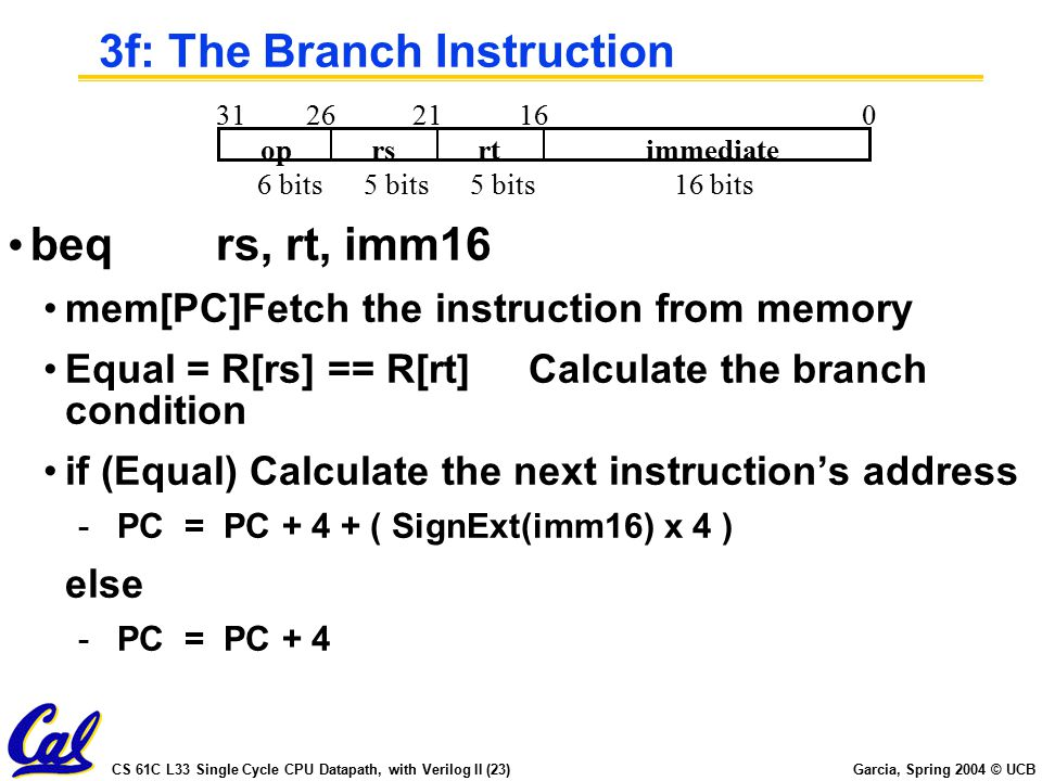 CS 61C L33 Single Cycle CPU Datapath, with Verilog II (23) Garcia, Spring 2004 © UCB 3f: The Branch Instruction beqrs, rt, imm16 mem[PC]Fetch the instruction from memory Equal = R[rs] == R[rt]Calculate the branch condition if (Equal) Calculate the next instruction's address -PC = PC + 4 + ( SignExt(imm16) x 4 ) else -PC = PC + 4 oprsrtimmediate 016212631 6 bits16 bits5 bits