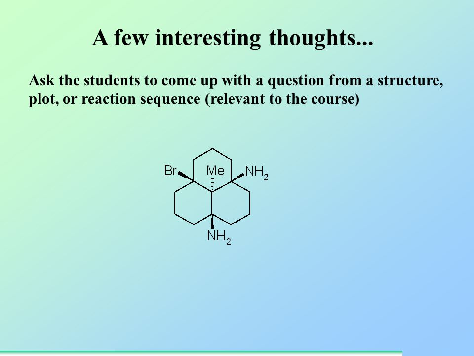 Ask the students to come up with a question from a structure, plot, or reaction sequence (relevant to the course) A few interesting thoughts...