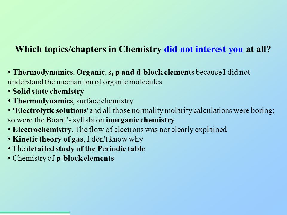 Which topics/chapters in Chemistry did not interest you at all.