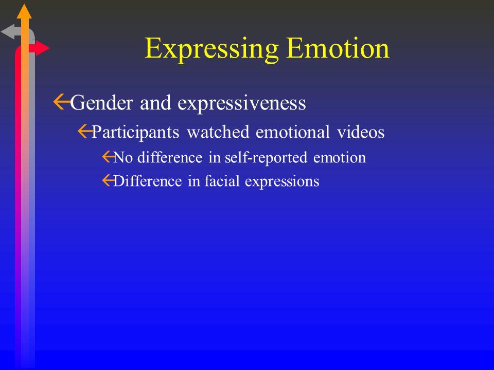 Expressing Emotion ßGender and expressiveness ßParticipants watched emotional videos ßNo difference in self-reported emotion ßDifference in facial exp