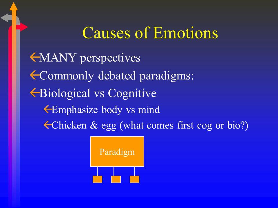 Causes of Emotions ßMANY perspectives ßCommonly debated paradigms: ßBiological vs Cognitive ßEmphasize body vs mind ßChicken & egg (what comes first c