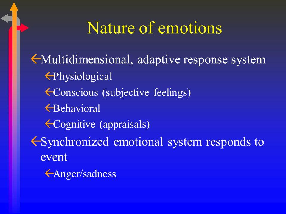 Nature of emotions ßMultidimensional, adaptive response system ßPhysiological ßConscious (subjective feelings) ßBehavioral ßCognitive (appraisals) ßSy