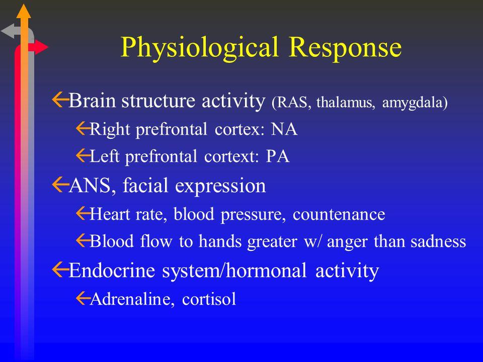 Physiological Response ßBrain structure activity (RAS, thalamus, amygdala) ßRight prefrontal cortex: NA ßLeft prefrontal cortext: PA ßANS, facial expr