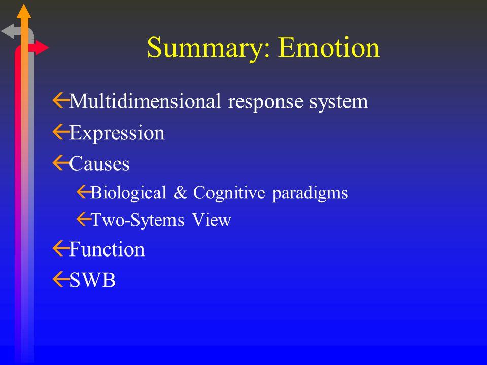 Summary: Emotion ßMultidimensional response system ßExpression ßCauses ßBiological & Cognitive paradigms ßTwo-Sytems View ßFunction ßSWB