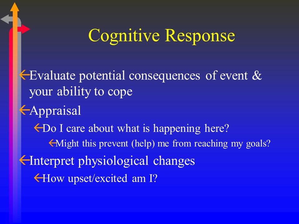 Cognitive Response ßEvaluate potential consequences of event & your ability to cope ßAppraisal ßDo I care about what is happening here? ßMight this pr
