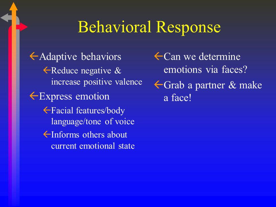 Behavioral Response ßAdaptive behaviors ßReduce negative & increase positive valence ßExpress emotion ßFacial features/body language/tone of voice ßIn