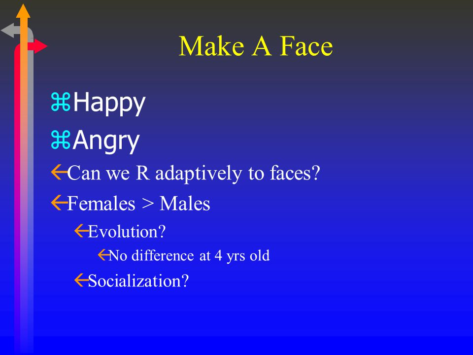 Make A Face zHappy zAngry ßCan we R adaptively to faces? ßFemales > Males ßEvolution? ßNo difference at 4 yrs old ßSocialization?