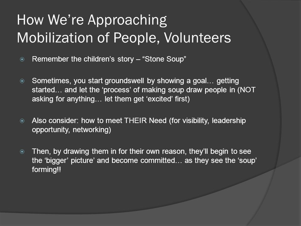How March to 1 Million Will Reach its Goals  Involve strategic audience (First Spouses, PTA, Medical Reserve Corps, US Chamber/BCLC, IAEM, NAEMT, etc.)  Collectively and individually, let them recruit their own 'warm market' (more than 6 million to tap so far!)  Build media buzz (for your 'key players' so they'll want to participate… and so your project becomes a 'hit'  Make initial effort 'easy' (pledge to do something… versus actually doing a chore)