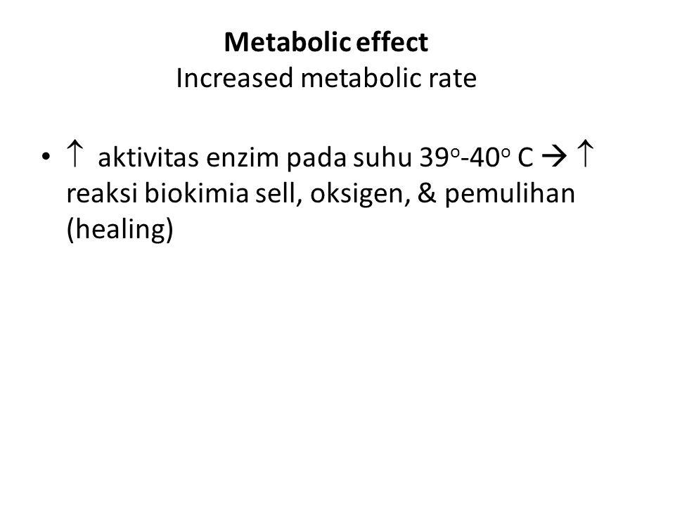  aktivitas enzim pada suhu 39 o -40 o C   reaksi biokimia sell, oksigen, & pemulihan (healing) Metabolic effect Increased metabolic rate