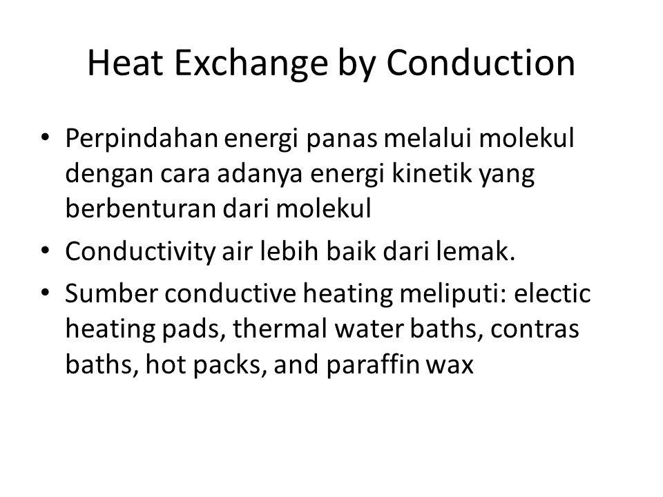 Heat Exchange by Conduction Perpindahan energi panas melalui molekul dengan cara adanya energi kinetik yang berbenturan dari molekul Conductivity air lebih baik dari lemak.