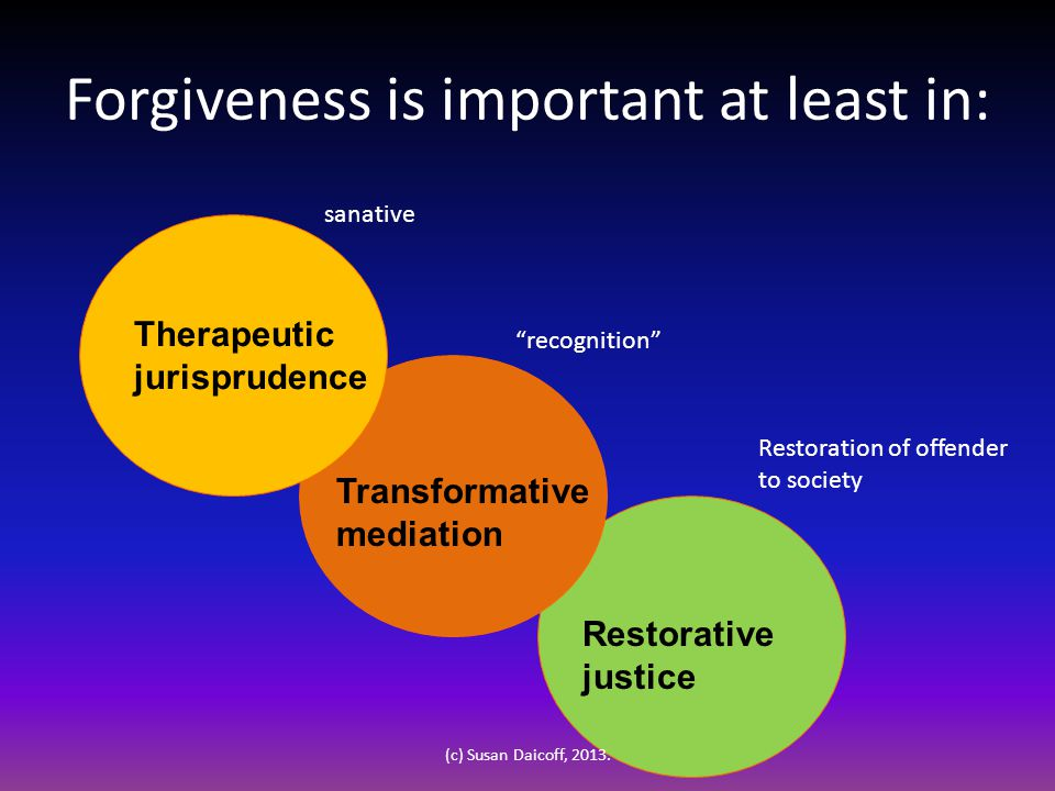 Forgiveness is important at least in: Transformative mediation Restorative justice Therapeutic jurisprudence sanative recognition Restoration of offender to society (c) Susan Daicoff, 2013.