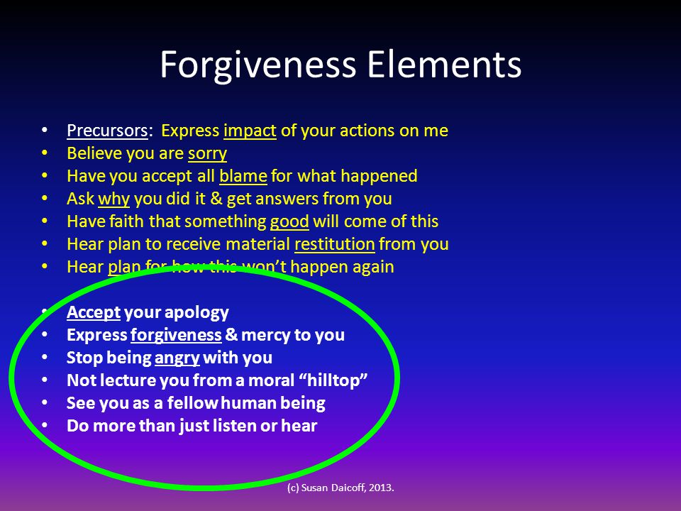 Forgiveness Elements Precursors: Express impact of your actions on me Believe you are sorry Have you accept all blame for what happened Ask why you did it & get answers from you Have faith that something good will come of this Hear plan to receive material restitution from you Hear plan for how this won't happen again Accept your apology Express forgiveness & mercy to you Stop being angry with you Not lecture you from a moral hilltop See you as a fellow human being Do more than just listen or hear (c) Susan Daicoff, 2013.