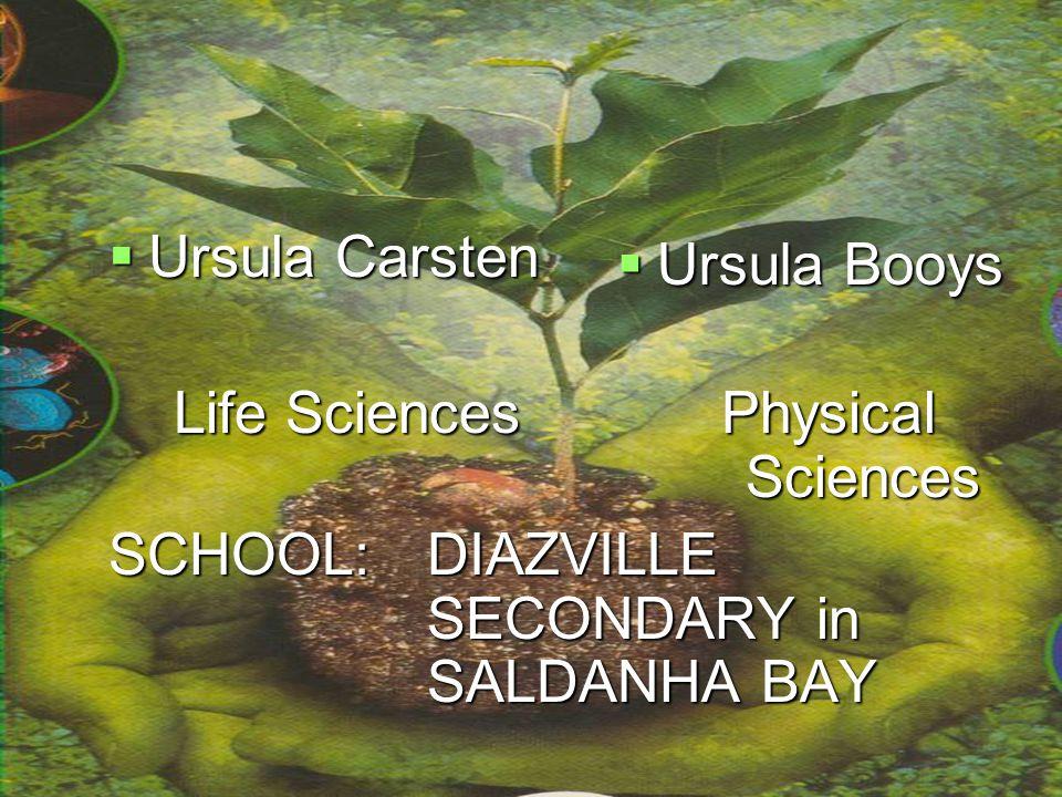 PRESENTERS  Ursula Carsten Life Sciences Physical Sciences Life Sciences Physical Sciences SCHOOL: DIAZVILLE SECONDARY in SALDANHA BAY  Ursula Booys
