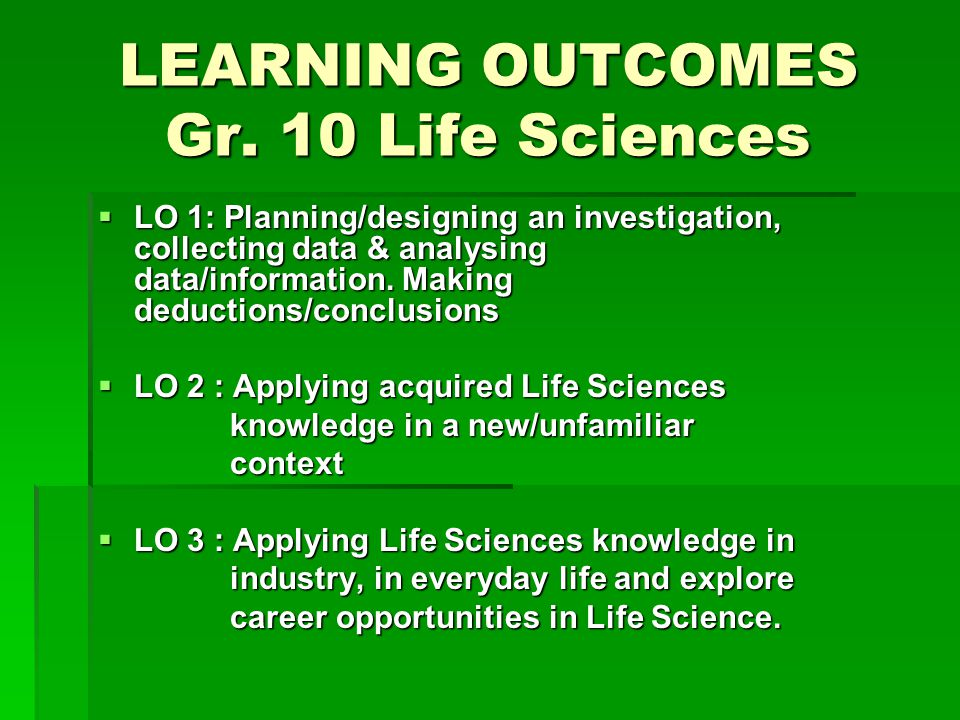 LEARNING OUTCOMES Gr.