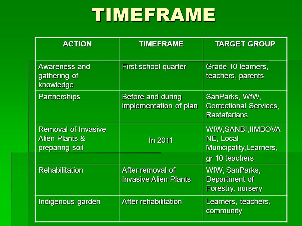 TIMEFRAMEACTIONTIMEFRAME TARGET GROUP Awareness and gathering of knowledge First school quarter Grade 10 learners, teachers, parents.