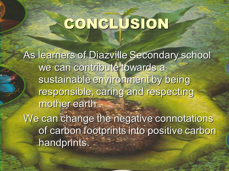 CONCLUSION As learners of Diazville Secondary school we can contribute towards a sustainable environment by being responsible, caring and respecting mother earth.