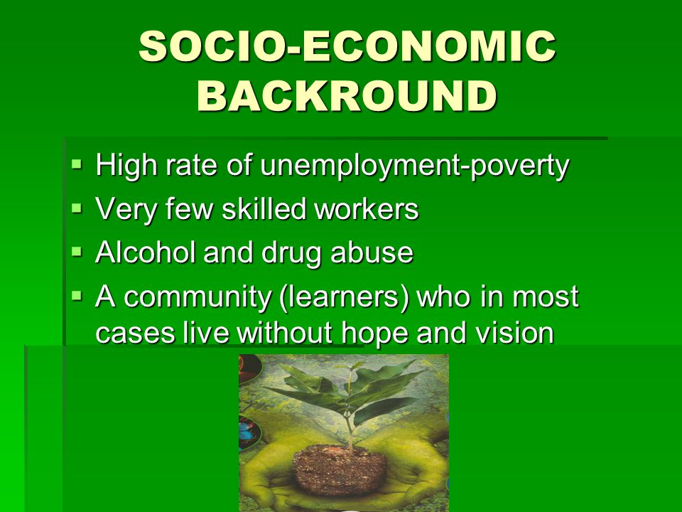 SOCIO-ECONOMIC BACKROUND  High rate of unemployment-poverty  Very few skilled workers  Alcohol and drug abuse  A community (learners) who in most cases live without hope and vision