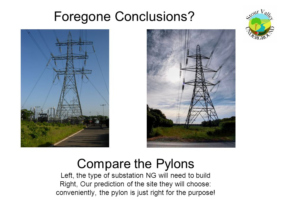 Compare the Pylons Left, the type of substation NG will need to build Right, Our prediction of the site they will choose: conveniently, the pylon is j