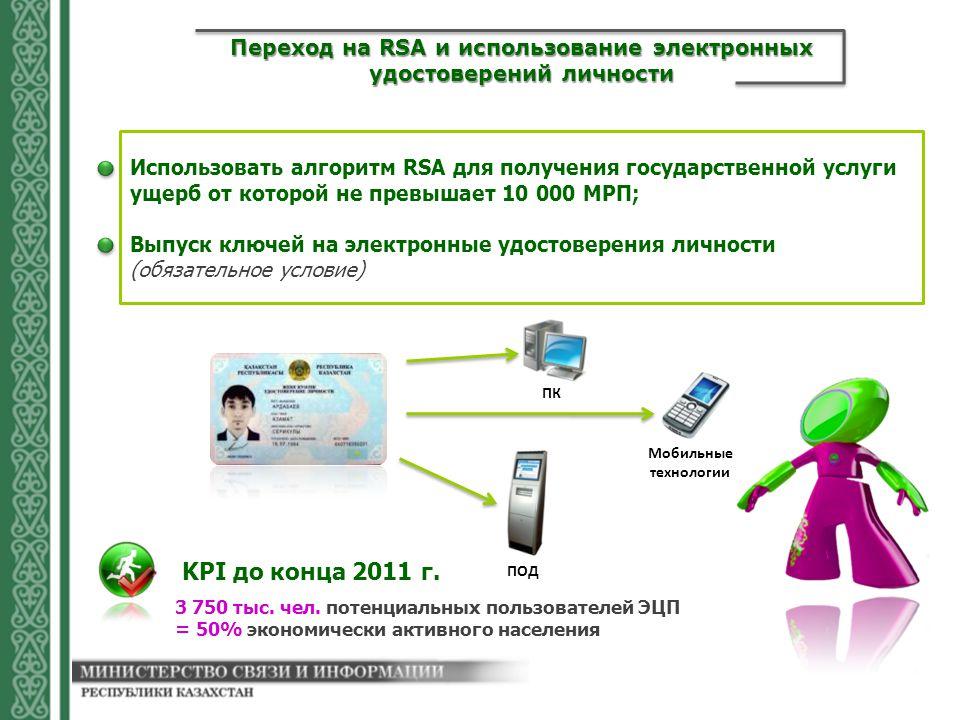 Использовать алгоритм RSA для получения государственной услуги ущерб от которой не превышает 10 000 МРП; Выпуск ключей на электронные удостоверения личности (обязательное условие) Переход на RSA и использование электронных удостоверений личности ПК ПОД Мобильные технологии 3 750 тыс.