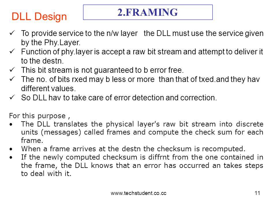 www.techstudent.co.cc11 DLL Design 2.FRAMING To provide service to the n/w layer the DLL must use the service given by the Phy.Layer. Function of phy.