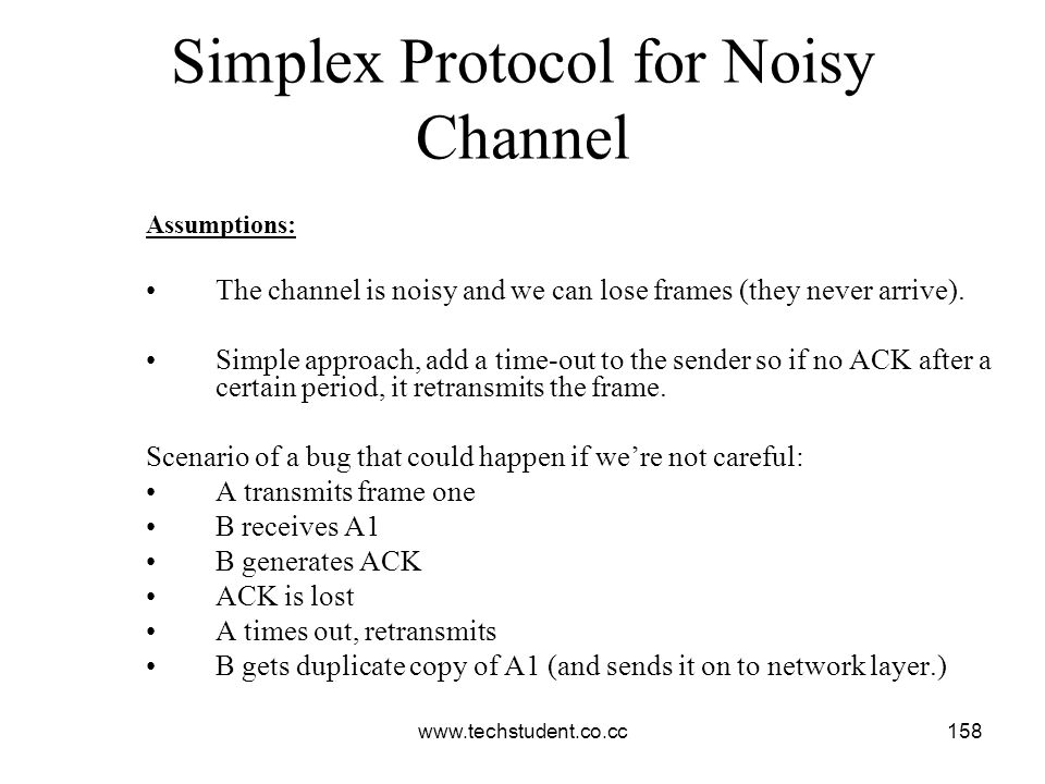 www.techstudent.co.cc158 Simplex Protocol for Noisy Channel Assumptions: The channel is noisy and we can lose frames (they never arrive). Simple appro