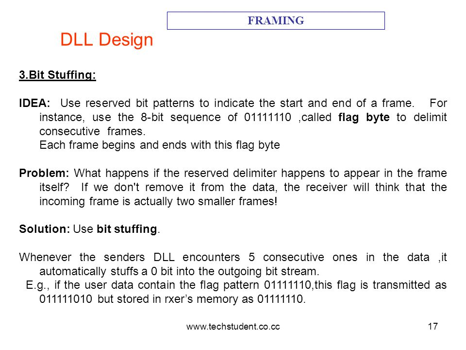 www.techstudent.co.cc17 DLL Design FRAMING 3.Bit Stuffing: IDEA: Use reserved bit patterns to indicate the start and end of a frame. For instance, use