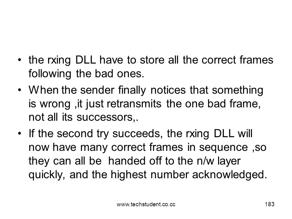 www.techstudent.co.cc183 the rxing DLL have to store all the correct frames following the bad ones. When the sender finally notices that something is
