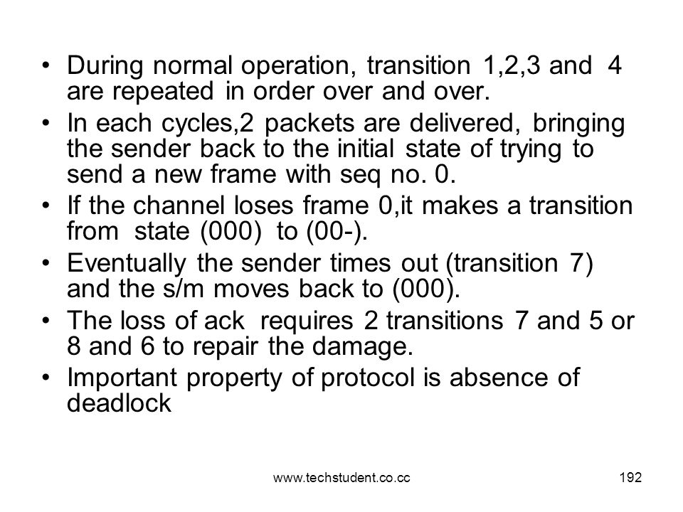 www.techstudent.co.cc192 During normal operation, transition 1,2,3 and 4 are repeated in order over and over. In each cycles,2 packets are delivered,
