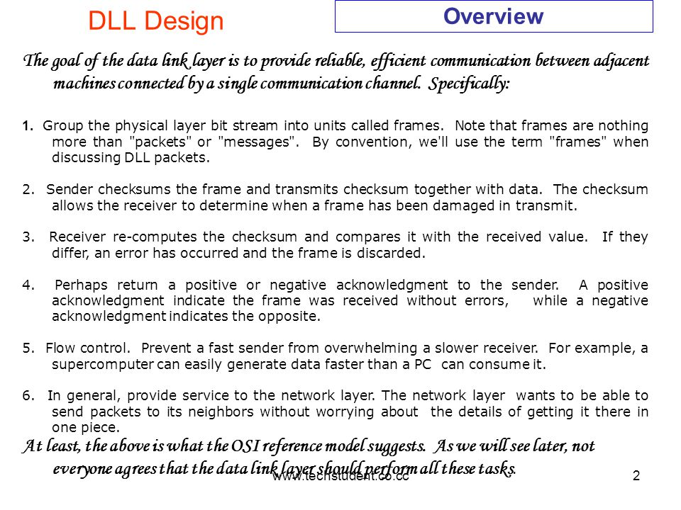 www.techstudent.co.cc2 DLL Design Overview The goal of the data link layer is to provide reliable, efficient communication between adjacent machines c